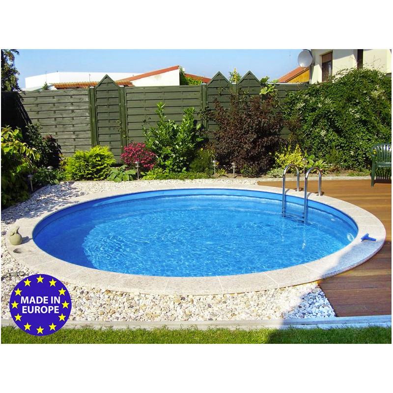 piscina tonda rigida fuori terra interrabile o semi