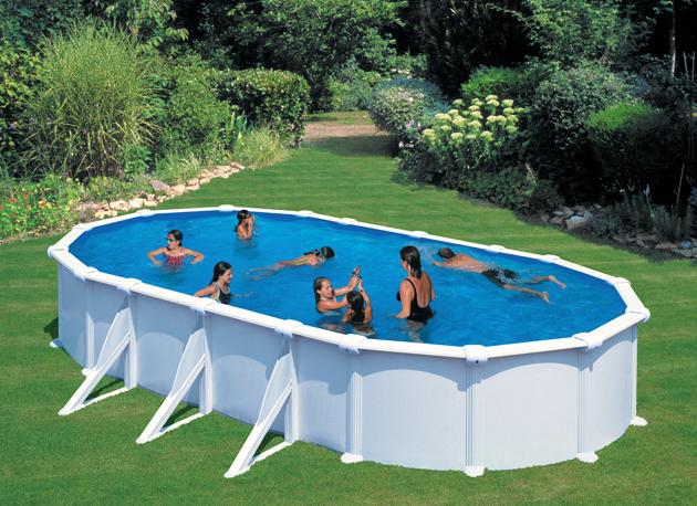 Piscina gre atlantis 730 x 375 cm h 132 ovale fuori - Scala per piscina fuori terra ...
