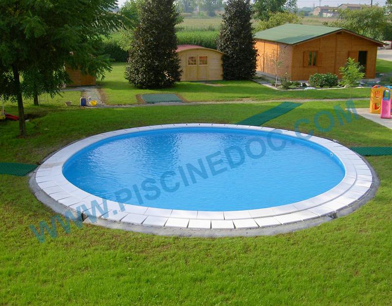 Piscina rotonda fuori terra interrabile diametro 500 cm - Sacchi di terra per giardino ...