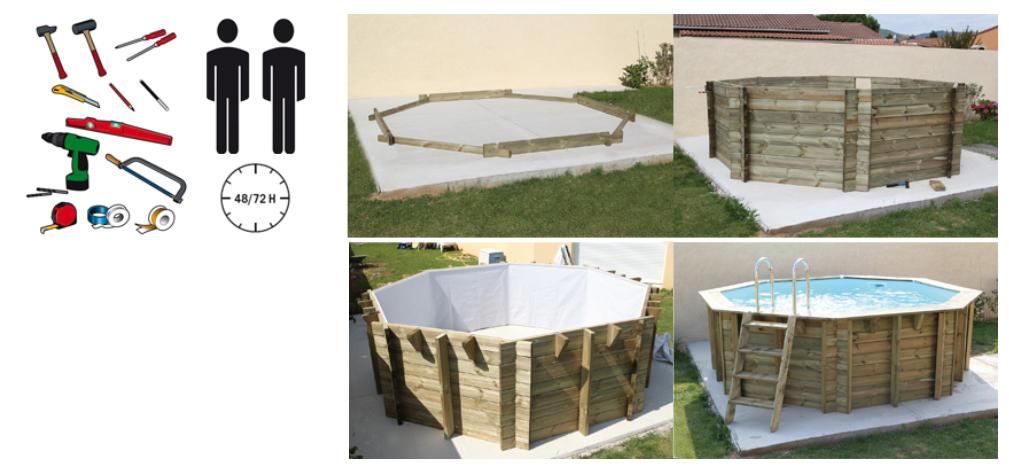 Piscina in legno ocea 860 ubbink cm 470 x 860 prezzo offerta for Kit piscina fuori terra