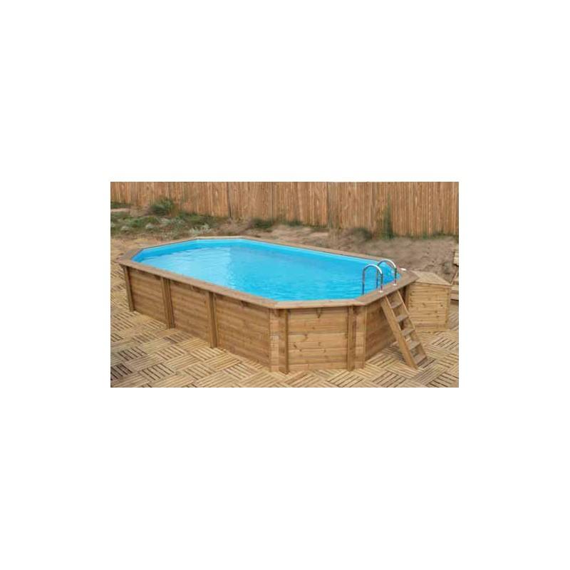 Piscina fuori terra in legno blue forest 550 ovale 7 09 x for Piscina fuori terra ovale