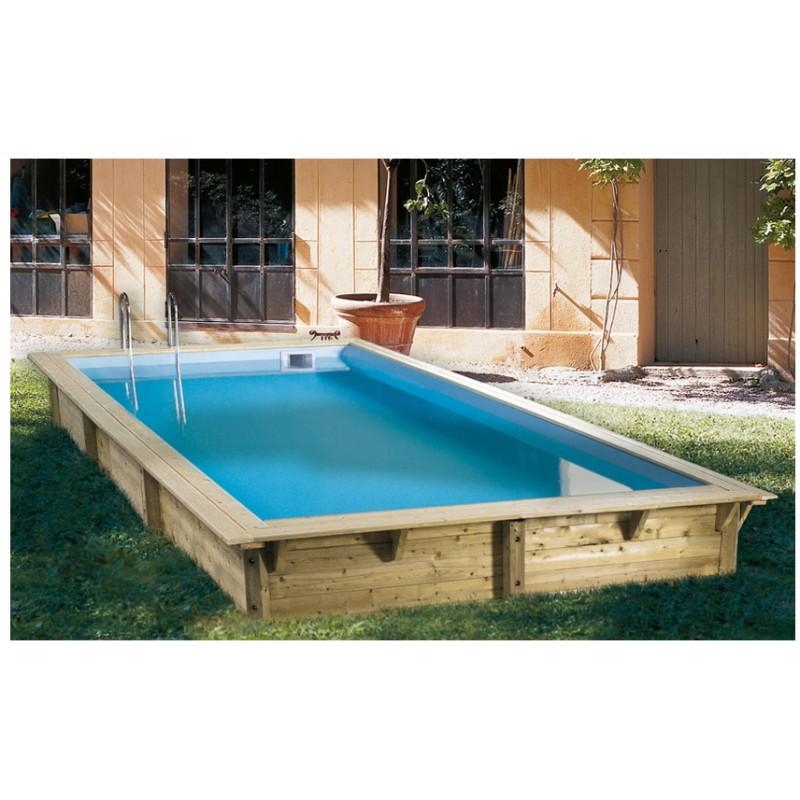Piscina in legno rettangolare azura 350 x 505 ubbink - Quanto costa mantenere una piscina fuori terra ...