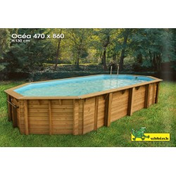 Piscina in legno 8,60 m x 4,70 m ottagonale - Ocea 860 Ubbink