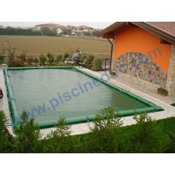 Copertura invernale Wincover 13,50 x 7,50 m per piscina 12 x 6 m, completa di tubolari