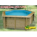 Piscina in legno Ø 4,10 m esagonale Azura 410 Ubbink