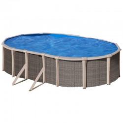 Piscina GRE FUSION POOL 670 x 370 cm - h 1,35 m filtro a sabbia fuori terra ovale