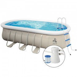 Kit Piscina Chinook Grey 610 x 360 cm - h 122 cm - ovale fuori terra - Jilong