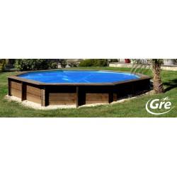 Copertura estiva originale per piscina in legno gre safran for Copertura invernale piscina gre