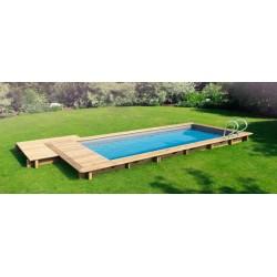 URBAINE Rettangolare kit PRO - NaturaWood - 6,00 x 2,50 x h 133 cm - piscina in legno